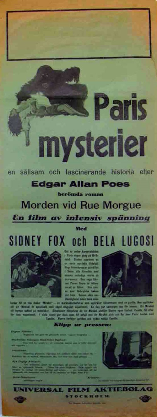 Murders in the Rue Morgue Swedish Poster