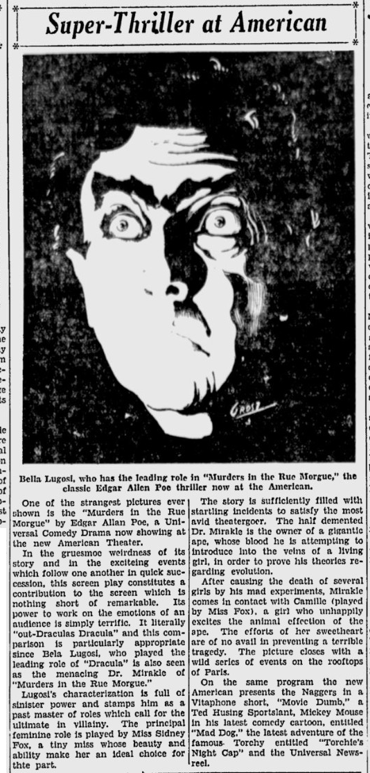 Murders in the Rue Morgue, The Evening News, San Jose, April 15, 1932 a