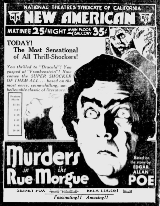 Murders in the Rue Morgue, The Evening News, San Jose, April 15, 1932