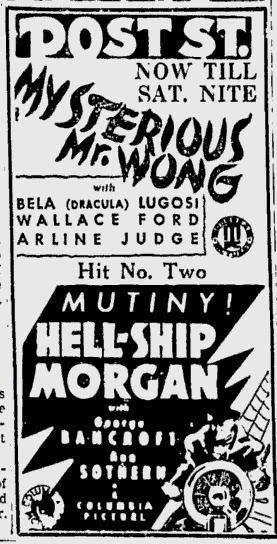 Mysterious Mr Wong, Spokane Daily Chronicle, July 31, 1936