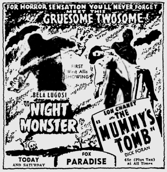 Night Monster, The Milwaukee Journal, April 23, 1943 a