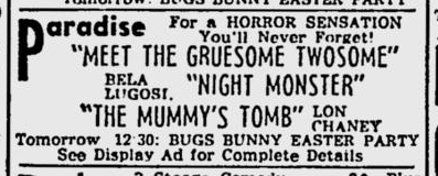 Night Monster, The Milwaukee Journal, April 23, 1943 b