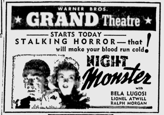Night Monster, The Sunday Morning Star, April 25, 1943