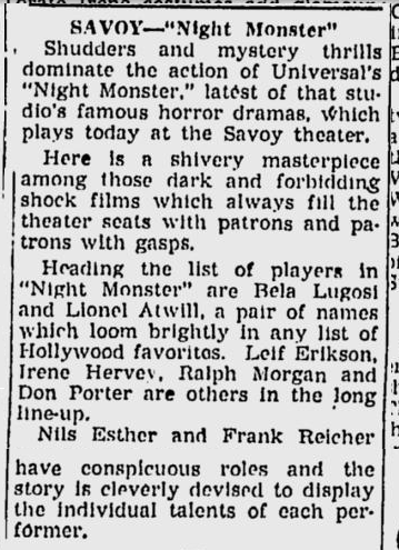 Night Monster, The Sunday Morning Star, August 8, 1943