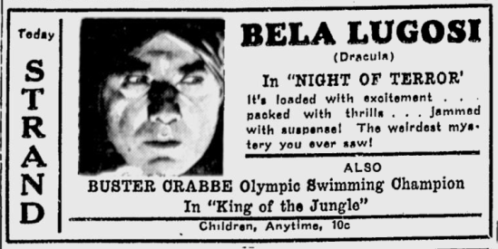 Night of Terror, The Lewiston Daily Sun, June 2, 1933