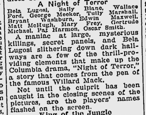Night of Terror, The Lewiston Daily Sun, May 27, 1933