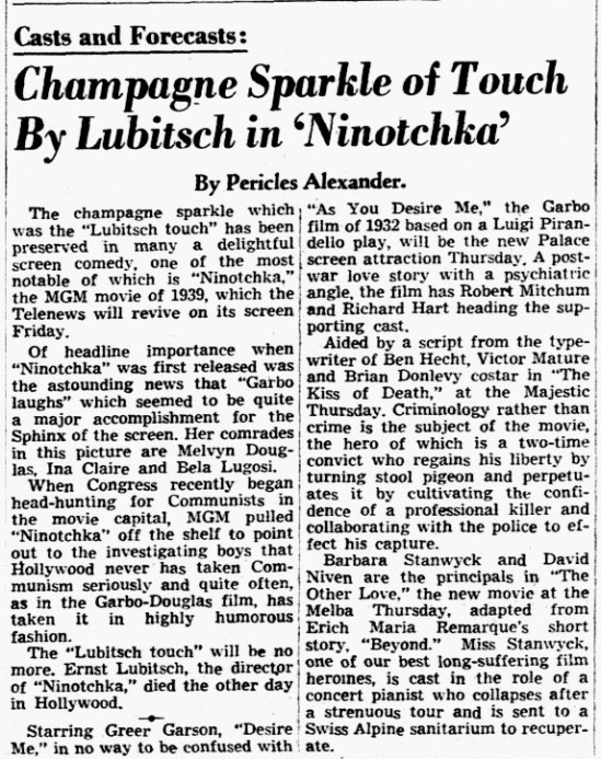 Ninotchka, Dallas Morning News, December 14, 1947