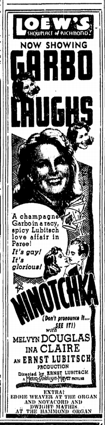 Ninotchka, Richmond Times Dispatch, December 2, 1939