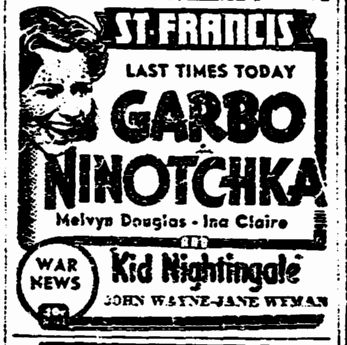 Ninotchka, San Francisco Chronicle, December 13, 1939