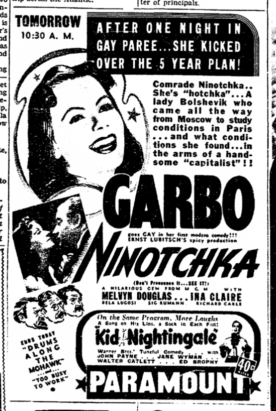 Ninotchka, San Francisco Chronicle, November 21, 1939