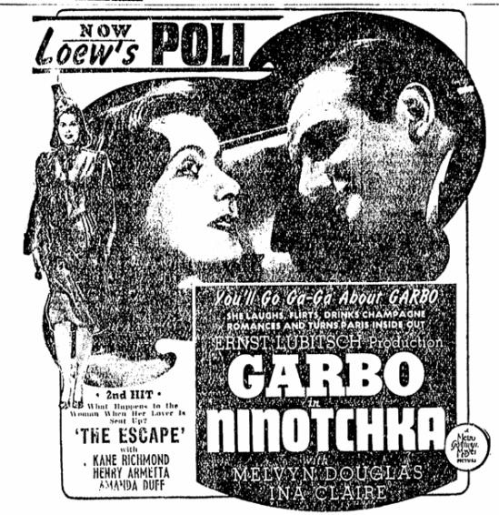 Ninotchka, Springfield Republican, November 24, 1939
