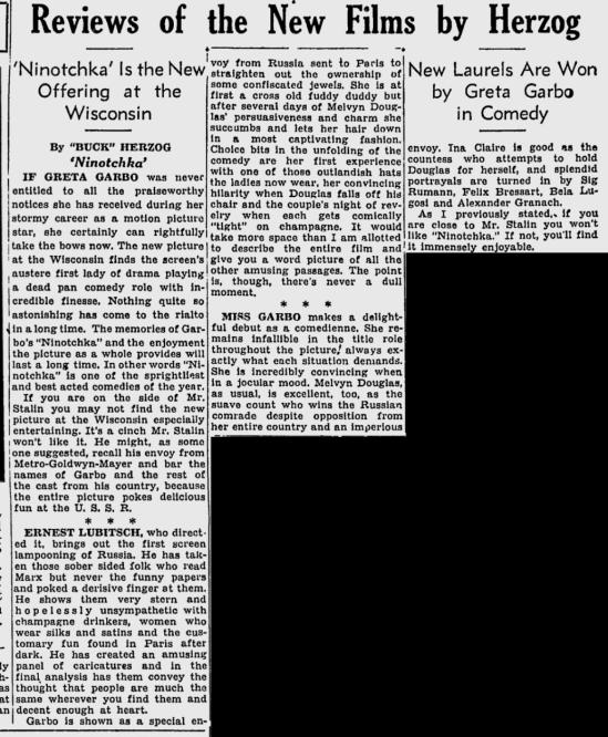 Ninotchka, The Milwaukee Sentinel, November 24, 1939