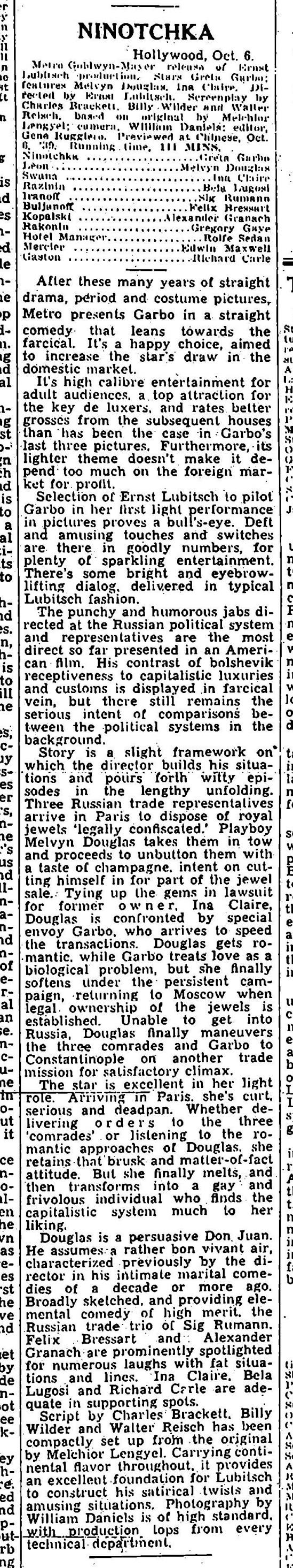 Ninotchka, Variety, October 6, 1939