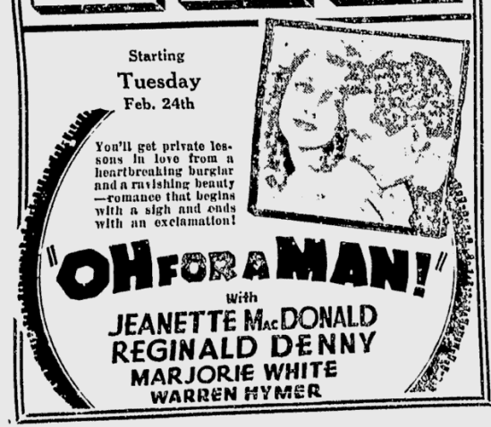Oh, For A Man, Berkeley Daily Gazette, February 20, 1931 2