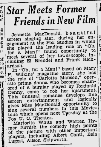 Oh, For A Man, Berkeley Daily Gazette, February 20, 1931