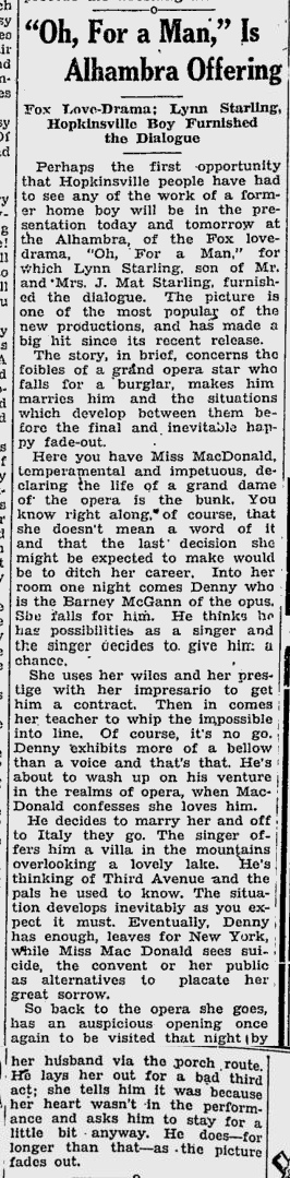 Oh, For A Man, Kentucky New Era, April 6, 1931 2