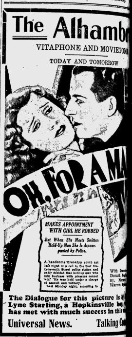 Oh, For A Man, Kentucky New Era, April 6, 1931