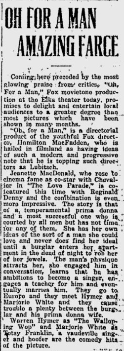 Oh, For A Man, Prescott Evening Courier, March 24, 1931 2