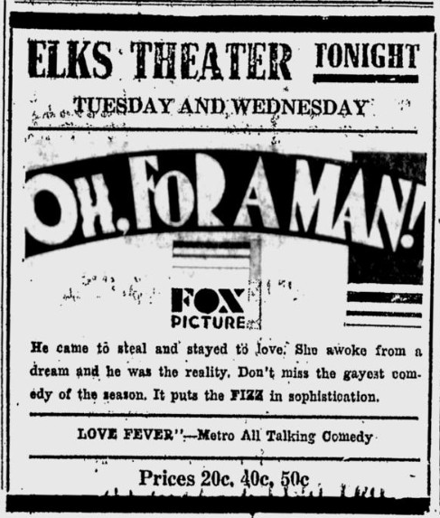 Oh, For A Man, Prescott Evening Courier, March 24, 1931