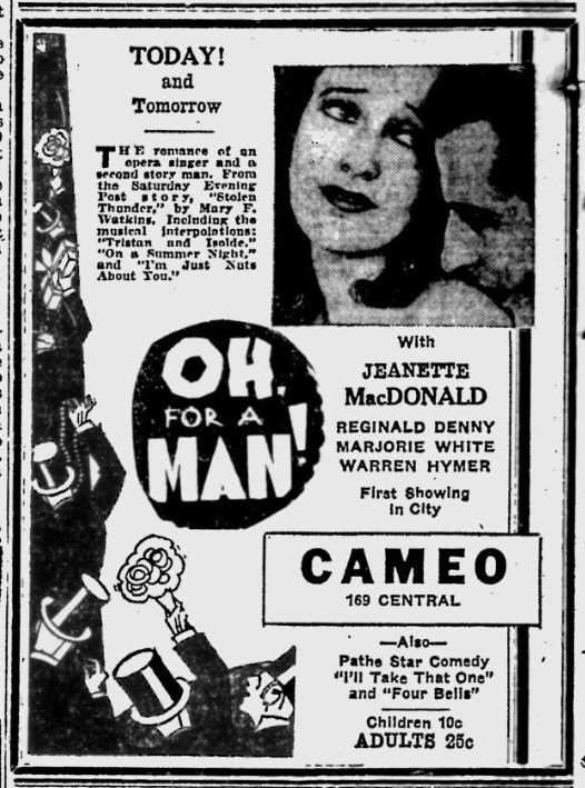 Oh, For A Man, The Evening Independent, March 22, 1931
