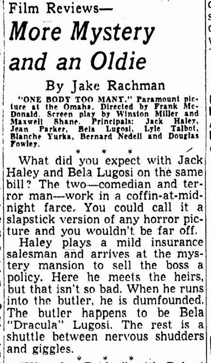 One Body Too Many, Morning World Herald, January 26, 1945