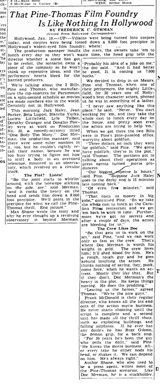 One Body Too Many, Rockford Morning Star, January 20, 1944