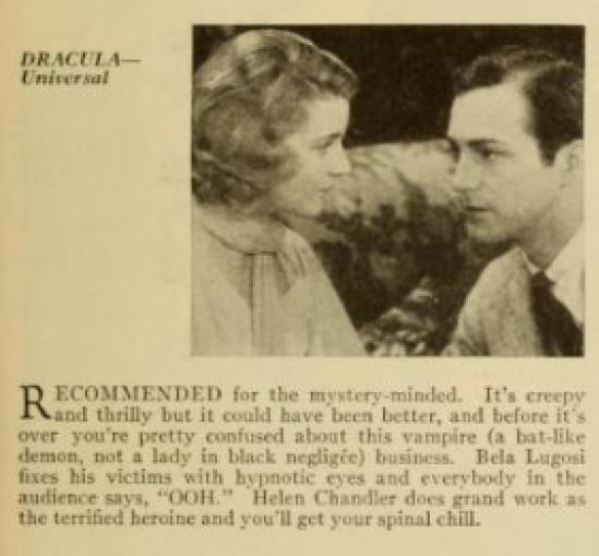 Dracula Photoplay Magazine, March 1931.