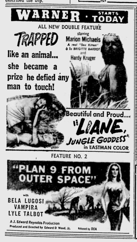 Plan 9 From Outer Space, Reading Eagle, October 22, 1958