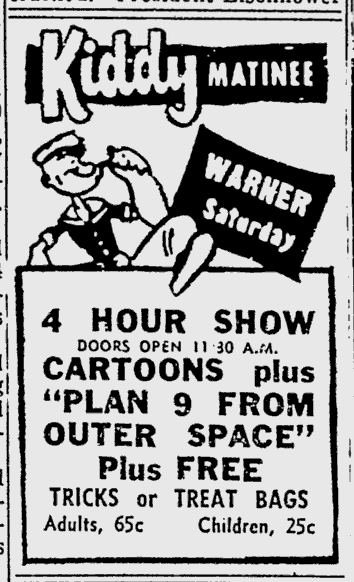 Plan 9 From Outer Space, Reading Eagle, October 23, 1958