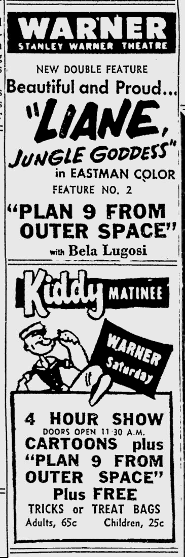 Plan 9 From Outer Space, Reading Eagle, October 24, 1958