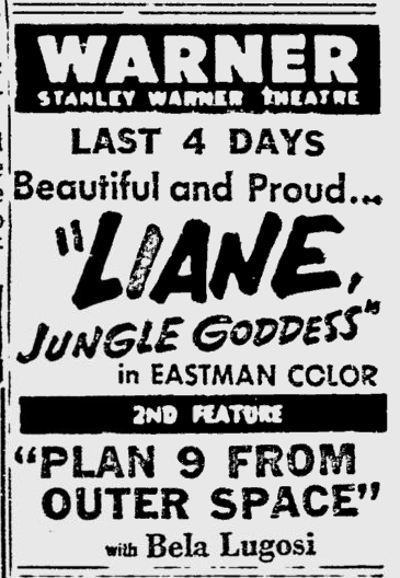 Plan 9 From Outer Space, Reading Eagle, October 25, 1958