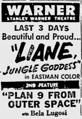 Plan 9 From Outer Space, Reading Eagle, October 26, 1958