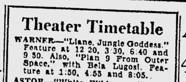 Plan 9 From Outer Space, Reading Eagle, October 28, 1958