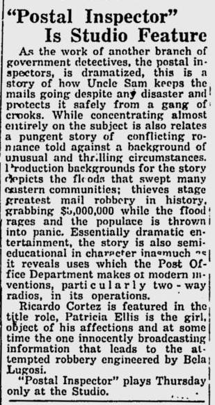 Postal Inspector, Prescott Evening Courier, August 27, 1936
