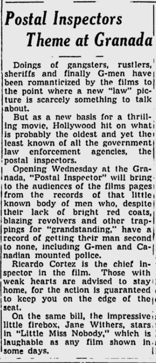 Postal Inspector, Spokane Daily Chronicle, November 24, 1936