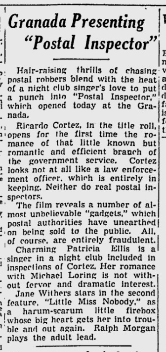 Postal Inspector, Spokane Daily Chronicle, November 25, 1936