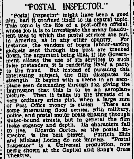 Postal Inspector, Sydney Morning Herald, November 2, 1936