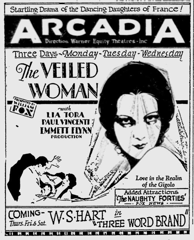 The Veiled Woman, Reading Eagle, June 30, 1929 A