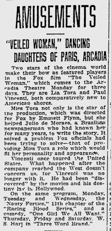 The Veiled Woman, Reading Eagle, June 30, 1929 B