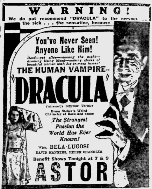 Dracula Reading Eagle, March 22, 1931