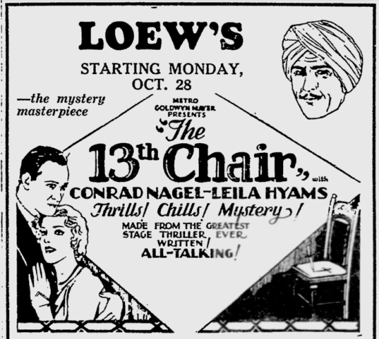 The 13th Chair, Reading Eagle, October 26, 1929