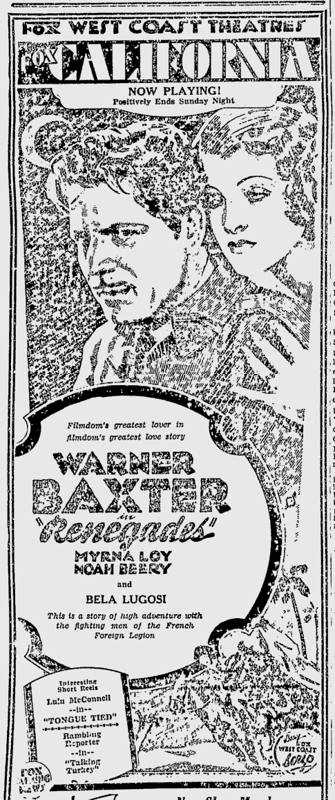 Renegades, Bekerley Daily Gazette, November 28, 1930 2