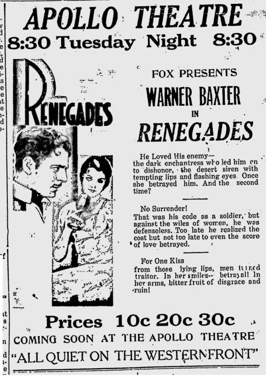 Renegades, The Virgin Islands Daily News, March 23, 1931