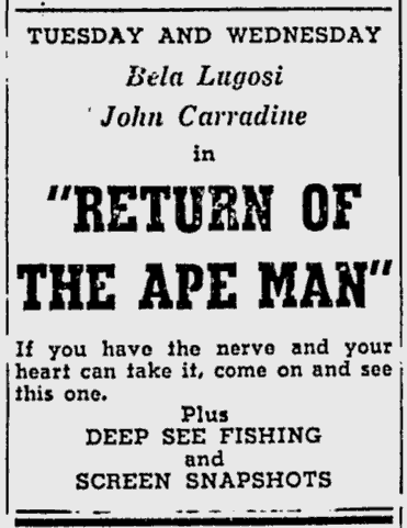 Return Of The Ape Man, Kentucky New Era, December 30, 1946