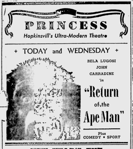 Return Of The Ape Man, Kentucky New Era, December 31, 1945