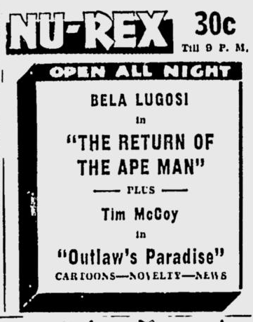 Return Of The Ape Man, Spokane Daily Chronicle, April 11, 1947