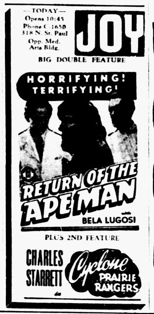Return Of The Ape Man, The Dallas Morning News, November 23, 1945