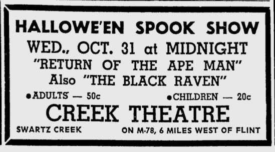 Return of the Ape Man, The Owosso Argus-Press, October 30, 1951