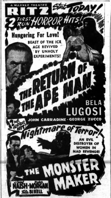 Return of The Ape Man, Unknown Newspaper
