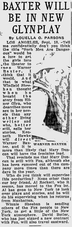 Such Men Are DangerousRochester Evening Journal, September 18, 1929